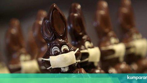 Foto: Cokelat Kelinci Paskah di Belgia Bermasker karena Wabah Virus Corona