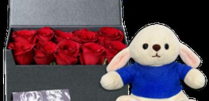 Selain boneka kelinci yang lucu, kelezatan cokelat ferrero rocher T5 juga akan menyempurnakan persembahan ini. Ditambah lagi, buket bunga mawar merah ...