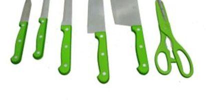 (Image:Lazada) Pisau set dari Q2 terbuat dari stainless steel anti karat. Terdiri dari 5 buah pisau (pisau koki, pisau serbaguna, pisau fillet , pisau buah, ...