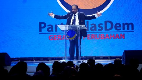 Ketua Umum Partai NasDem Surya Paloh memberikan pidato pada pembukaan Kongres II Partai NasDem, Jakarta, Jumat (8/11/2019).   Foto: Fanny Kusumawardhani/kumparan