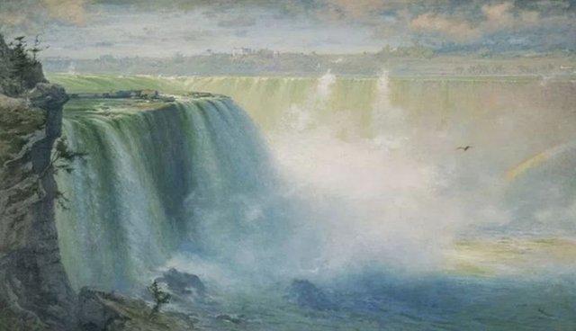 Lukisan Pemandangan Air Terjun Yang Simple