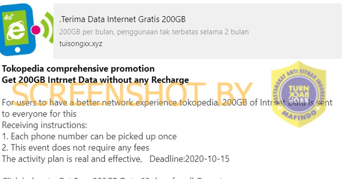 Cek Fakta Salah Tokopedia Bagikan 200 Gb Data Internet Untuk Semua Operator Kurio