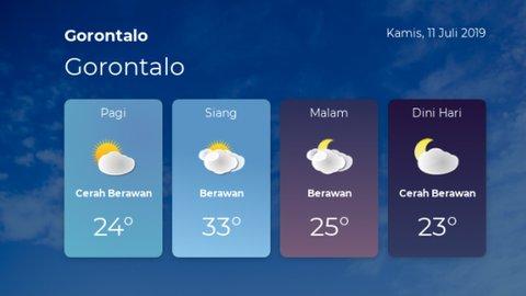 Prakiraan cuaca Gorontalo - Kamis, 11 Juli 2019